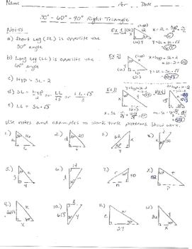 Special Right Triangles Worksheet 30 60 90 Answers by Special Right Triangles Worksheet 30 60 90 Answers