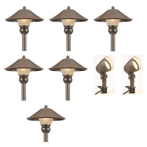 Low Voltage Led Lighting Outdoor Hton Bay Low Voltage Bronze Outdoor Integrated Led Light Kit 8 Pack Iwv6628l The Home Depot