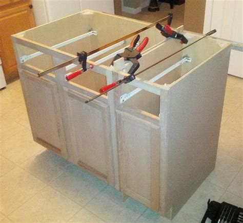 how to install kitchen island cabinets how to make a diy kitchen island and install in your kitchen removeandreplace