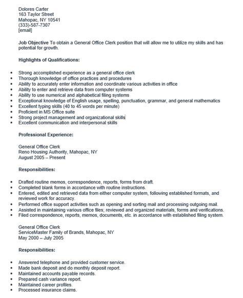 Office Clerk Resume by 16 Free Sle General Office Clerk Resumes Best Resumes