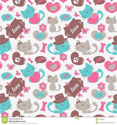 seamless pattern cats cats in love seamless pattern stock photos image 27665683