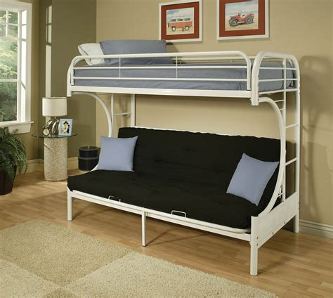 futon bunk bed with mattresses on top and futon on the bottom it the