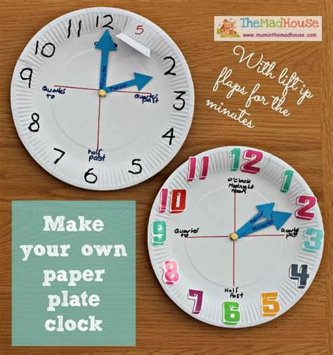 Make Your Own Paper Clock - how to make a paper plate clock my boys to tell and crafts