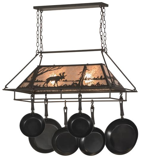 Meyda 152951 Moose At Lake Pot Rack Ceiling Pot Rack With Lights