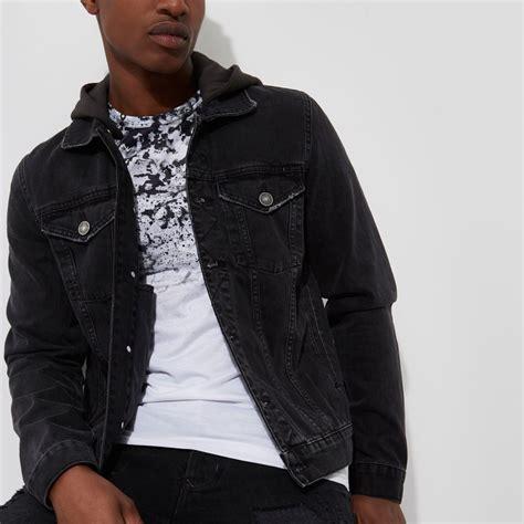 Denim Washed Jacket black washed denim hooded jacket coats jackets sale