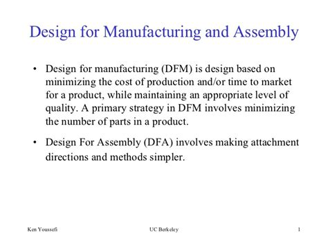 design for manufacturing and assembly notes design formanufacturingandassembly