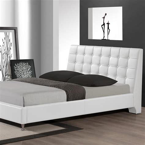 white upholstered queen bed baxton studio zeller transitional white faux leather