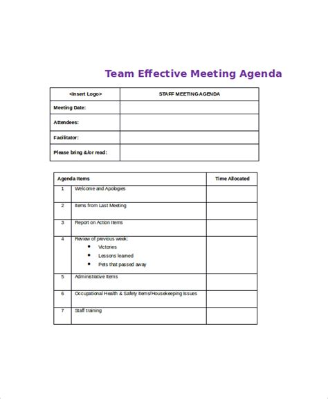 12 effective meeting agenda templates free sle