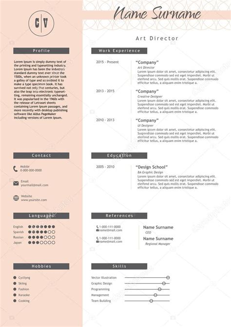 Lebenslauf Vorlage Kreativ Vektor Kreative Lebenslauf Vorlage Minimalistischen Stil Cv Infographik Elemente Stockvektor