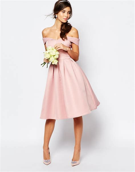 chi chi midi prom dress with skirt and bardot neck bridal in pink lyst
