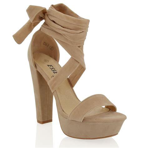 Sendal High Heels Wanita 3 womens lace up high heel sandals block platform ankle tie shoes 3 8 ebay