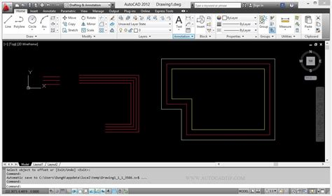 commands in offset command tutorial in autocad