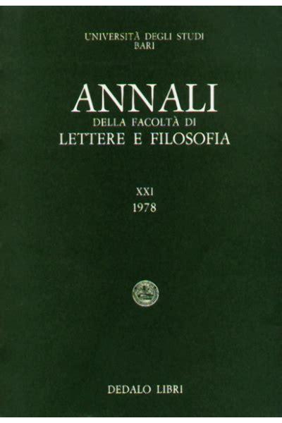 annali della facolt 224 di lettere e filosofia dell