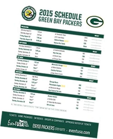 printable schedule for green bay packers event usa packers tickets and game packages 2015