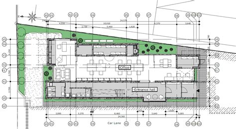 layout design meat processing plant yoshiyasu mizuno creates raw concrete office block for