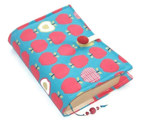 Handmade Book Cover Design - fabric book cover apples by whimsywoodesigns on etsy