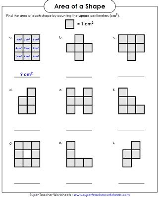 get printable area c area worksheet counting squares llol x pinterest