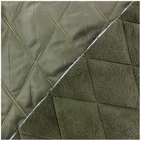 reversible quilted fabric minkee olive x 10cm ma