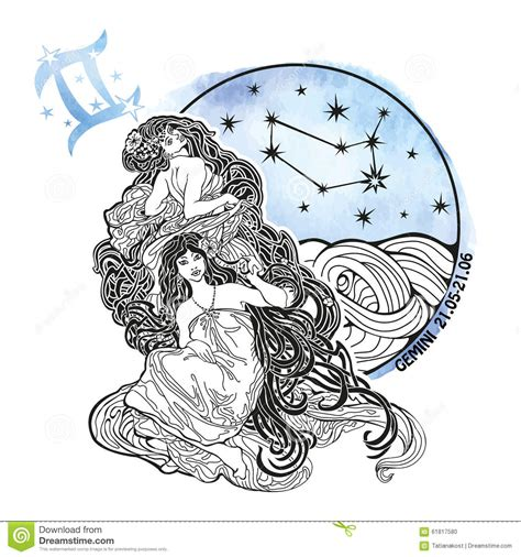 gemini girls zodiac sign horoscope circle stock vector