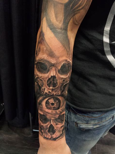 skull forearm tattoos western realism black and grey archives chronic ink