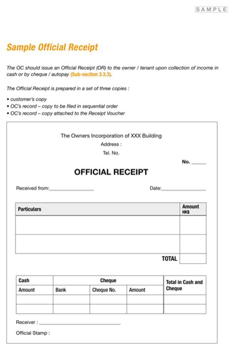 official receipt template ai official receipt for free formtemplate