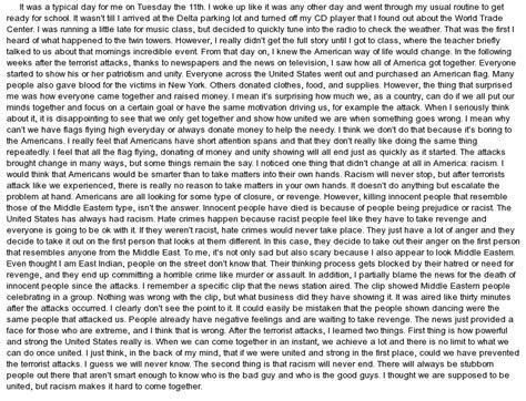 September 11 Essay by Terrorist Attacks Of 9 11 Essay Exle At Essaypedia