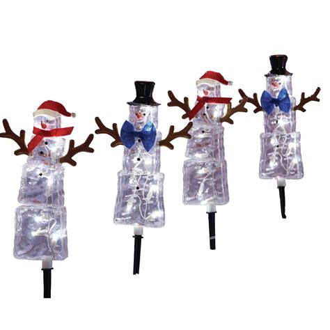 season s traditions led lights trimming traditions set of 4 snowman pathway markers with