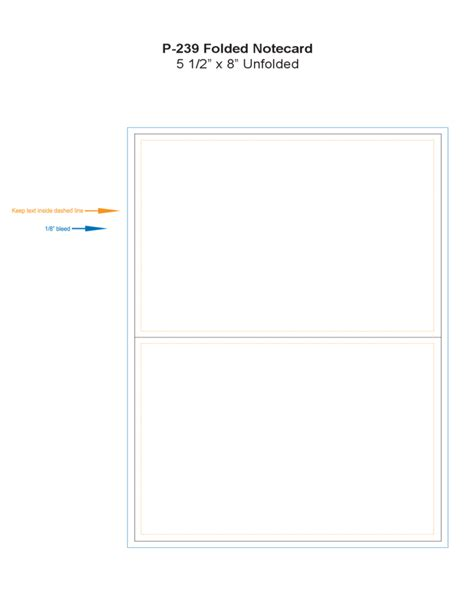 letter card template folded note card template free