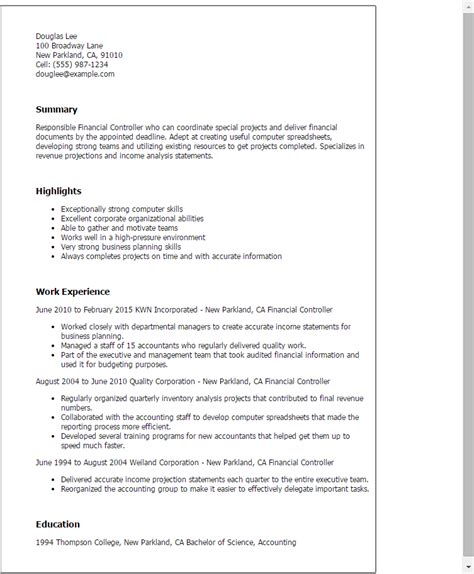 Financial Controller Cover Letter by Professional Financial Controller Templates To Showcase Your Talent Myperfectresume