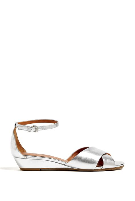 silver low wedge sandals marc by marc metallic low wedge sandals in silver