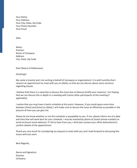 formal meeting request letter sample top form templates