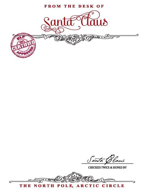 free santa letterhead template santa claus stationary free printable your golden