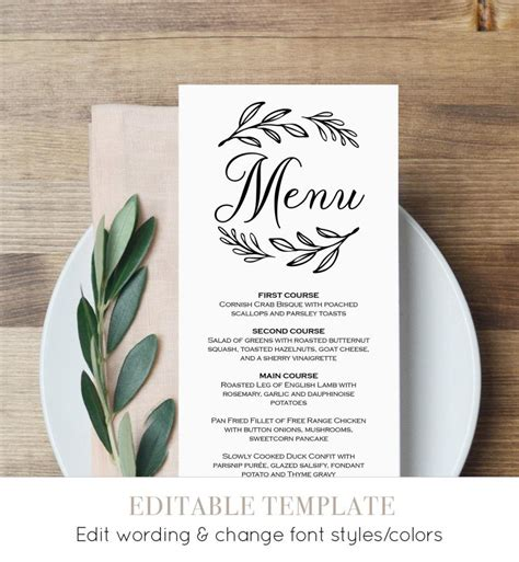 Wedding Menu Card Template by Menu Card Template Printable Wedding Menu Dinner Menu