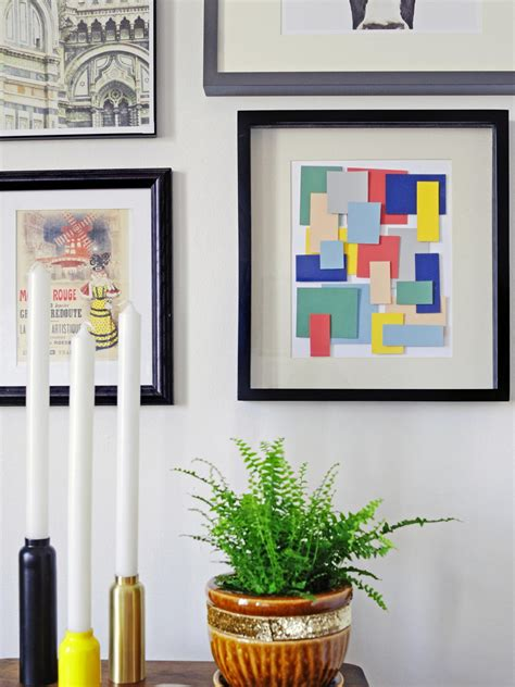 9 easy diy wall art ideas hgtv turn paint chips into geometric diy wall art hgtv
