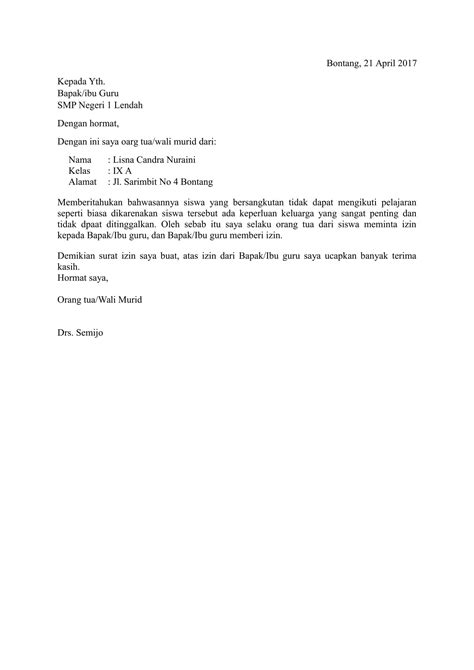 contoh surat izin tidak masuk sekolah format doc