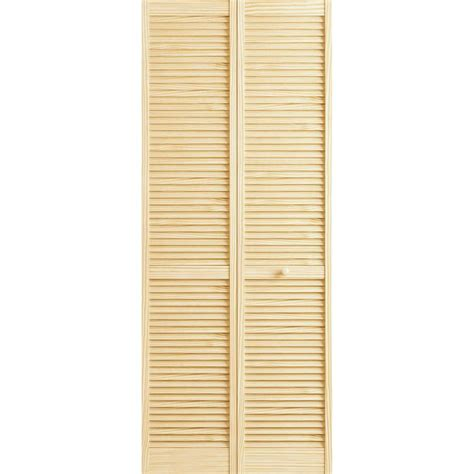Frameport 36 In X 80 In Louver Pine Unfinished Interior Bi Fold Louvered Closet Doors