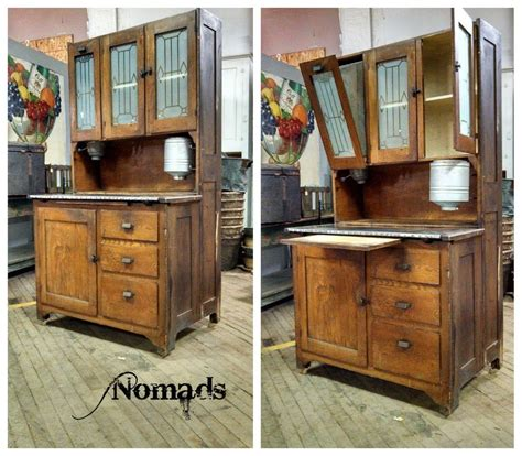 antique oak hoosier with flour sifter cabinet storage
