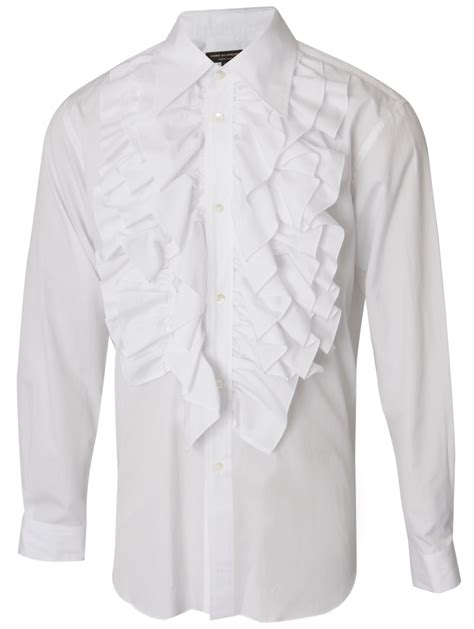 Ruffled Sleeve Shirt lyst comme des gar 231 ons sleeve ruffle shirt in white