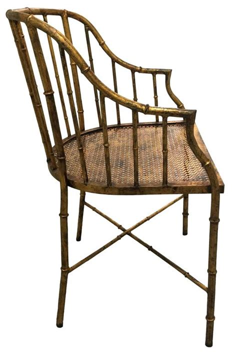 bamboo armchair burnished gilt metal bamboo armchair by la barge at 1stdibs