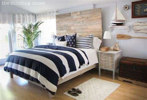 nautical bedroom how to build a wood pallet headboard the thinking closet