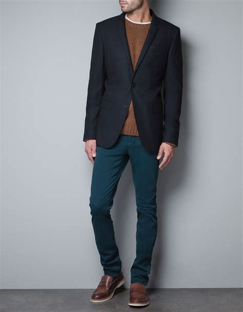 Zara Structured Blazer zara structured blazer with crest and patches in blue for lyst