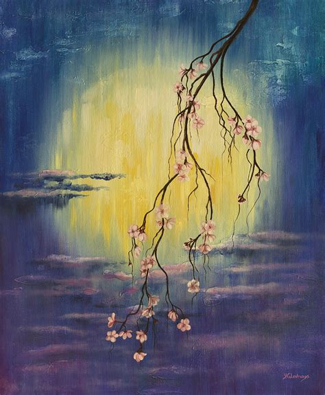 Sakura Duvet Full Moon Sakura Painting By Yuliya Glavnaya