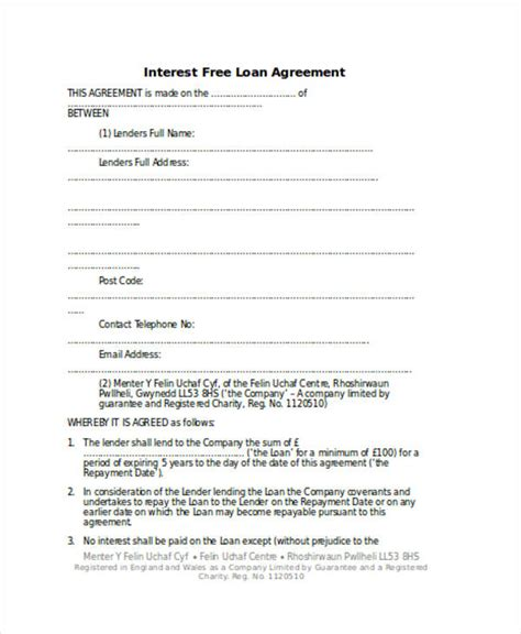Loan Agreement Form Word Loan Repayment Contract Free Template