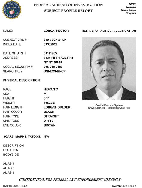 Hector Lorca The Blacklist Wiki Fandom Powered By Wikia Fbi Dossier Template