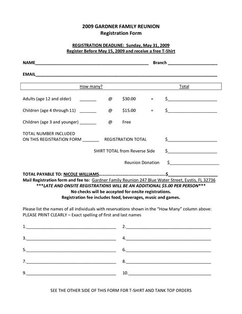 7 Best Images Of Family Reunion Forms Printable Free Printable Family Reunion Forms Free Class Registration Form Template Free