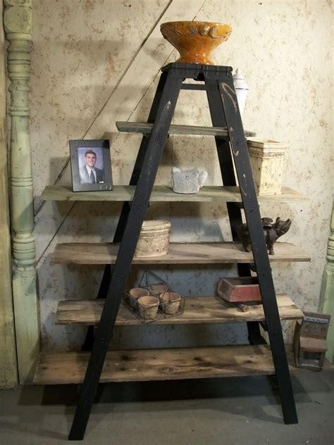 vintage wood double step ladder shelving  steps