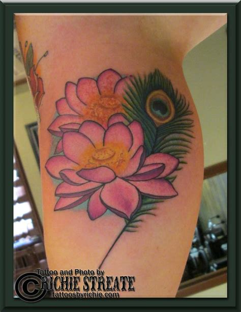 pink lotus tattoo pink lotus flowers and peacock feather s