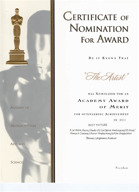 nomination certificate template the word is by renee troy academy award nomination
