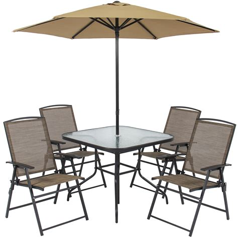 Patio Furniture Umbrellas Patio Table Chairs Umbrella Set New Best Choice Products 6pc Outdoor Folding Patio Dining Set W