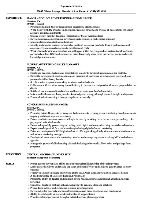 Ad Operations Manager Sle Resume by Advertising Sales Manager Resume Sles Velvet